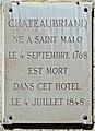 François-René de Chateaubriand plaque - 120 rue du Bac, Paris 7.jpg