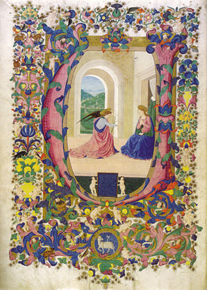 Francesco di Antonio del Chierico - Francesco di antonio del chierico, annunciazione, graduale edili 151, f 1v., biblioteca medicea laurenziana