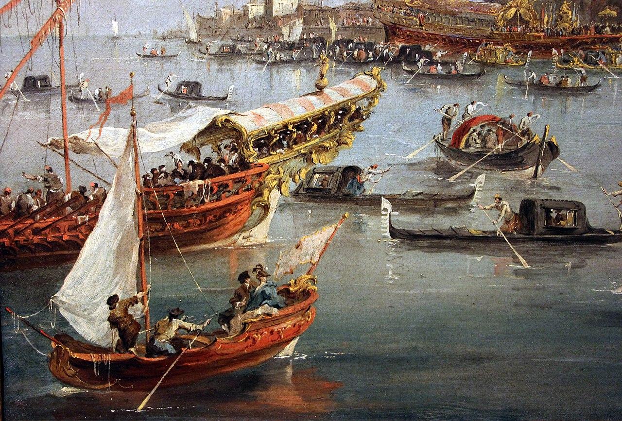 Francesco guardi, il doge di venezia sul bucintoro a san niccolò al lido per l'ascensione, 1775-80 ca. 02.JPG