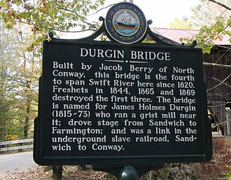 "Freshet - An example of usage of the term ""freshet"" is shown in the text on a historic marker at Durgin Bridge near Sandwich, New Hampshire."