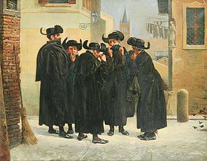 History of the Jews in the Czech Republic - Jews taking snuff in Prague, painting by Mírohorský, 1885