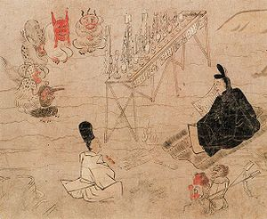 Shikigami - Abe no Seimei and his shikigami (bottom right) before an assembly of god-like demon spirits
