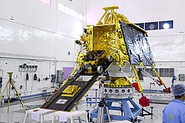 GSLV Mk III M1, Chandrayaan-2 - Pragyan rover mounted on the ramp of Vikram lander.jpg
