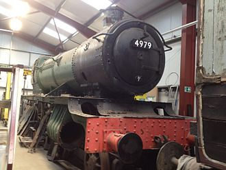 GWR 4900 Class 4979 Wootton Hall - Wootton Hall standing inside the FRT shed awaiting restoration.