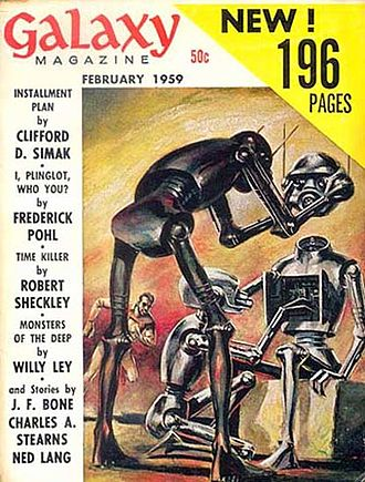 "Clifford D. Simak - Simak's novelette ""Installment Plan"" was the cover story in the February 1959 issue of Galaxy Science Fiction."