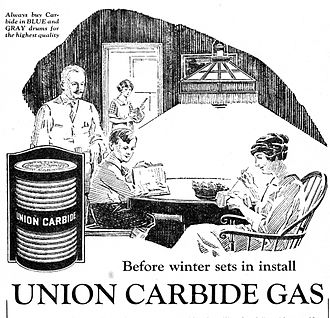 Union Carbide - 1922 advertisement for Union Carbide gas lighting. Electric lighting was not yet common in many rural areas of the United States.