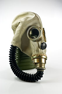 A mask used to protect the user from inhaling airborne pollutants and toxic gases