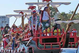 Gasparilla Pirate Festival - A parade float crewed by pirates in 2013