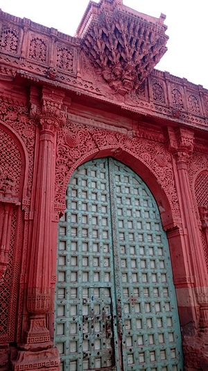Mundra - Stone carving on gate of Bukhari Pir Dargah