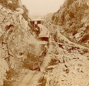 """Portland and Ogdensburg Railway - Gates of Crawford Notch, """"the Big Cut"""", looking northwest c. 1880s"""