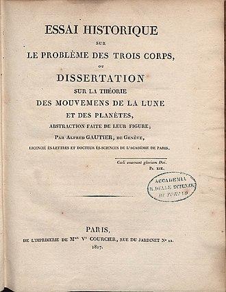 Jean-Alfred Gautier - Essai historique sur le problème des trois corps