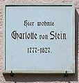 Gedenktafel Ackerwand 27 (Weimar) Charlotte von Stein.jpg