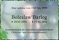 Gedenktafel Spindelmühler Weg 7 (Lichf) Boreslaw Barlog.JPG