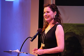 Millennium Development Goals - The Hollywood actress Geena Davis in a speech at the MDG Countdown event at the Ford Foundation in New York, addressing gender roles and issues in film such as her organisation's work in combating inequality in Hollywood (24 September 2013)