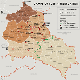 Location of the SS Trawniki training compound in between target camps of Lublin Reservation (General Government)