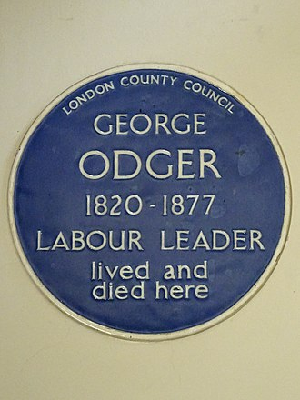 George Odger - Blue plaque inside St Giles in the Fields.