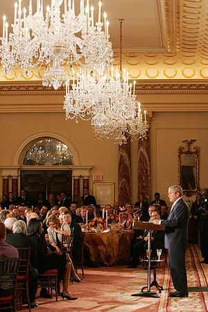 Diplomatic Reception Rooms, U.S. Department of State - Image: George W. Bush addresses his remarks at the Secretary of State's Dinner