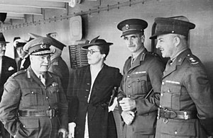 Jessie Vasey - Lieutenant General Sir Thomas Blamey talks with Vasey, Lieutenant Colonel George Alan Vasey and Lieutenant Colonel J. A. Chapman on board the troop transport RMS Strathallan during the embarkation of the Advance Party 6th Division AIF for service overseas.