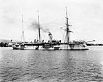 German warship in Apia Harbor 1900s, photo AJ Tattersall Timeframes NZ.jpg