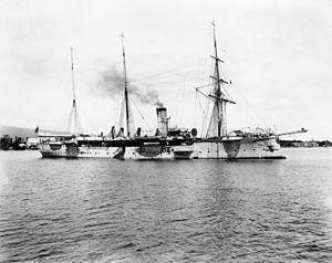 Lauaki Namulauulu Mamoe - German cruiser SMS Falke in Apia harbour, 1900s.