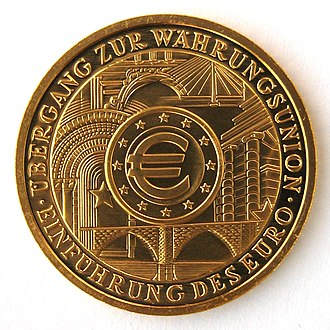 Euro gold and silver commemorative coins (Germany) - Image: Germany Goldeuro 2002 Einführung Euro Motivseite IMG 2193