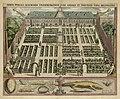 Gezicht op de Hortus Botanicus van de Universiteit van Leiden, met in de tuin verschillende wandelende figuren, 1610. Onder de voorstelling een krokodil, schildpad, egel, vleermuis en andere, NL-HlmNHA 1477 53013257.JPG