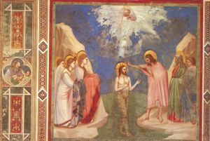 Baptism of the Lord - Baptism of Christ fresco by Giotto di Bondone, c. 1305 (Cappella Scrovegni, Padua, Italy).