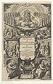 God tronend, uitstorting van de Heilige Geest, bevrijding van Paulus en apostelen Titelpagina voor Cornelius a Lapide, Commentaria in acta apostolorum, 1627, RP-P-1982-1219.jpg