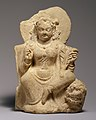 Goddess, possibly Nana, seated on a lion, 5th-6th century, Afghanistan, Hephthalite or Turkic period.jpg