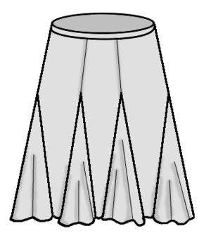 Glossary of sewing terms - Six-gore skirt with godets.