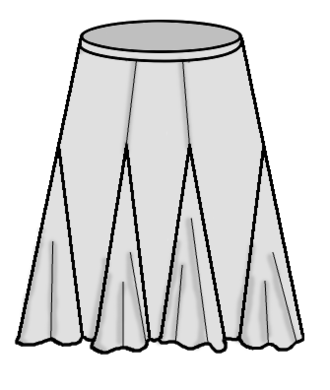 Godet (sewing) - A skirt with godets on the seams.