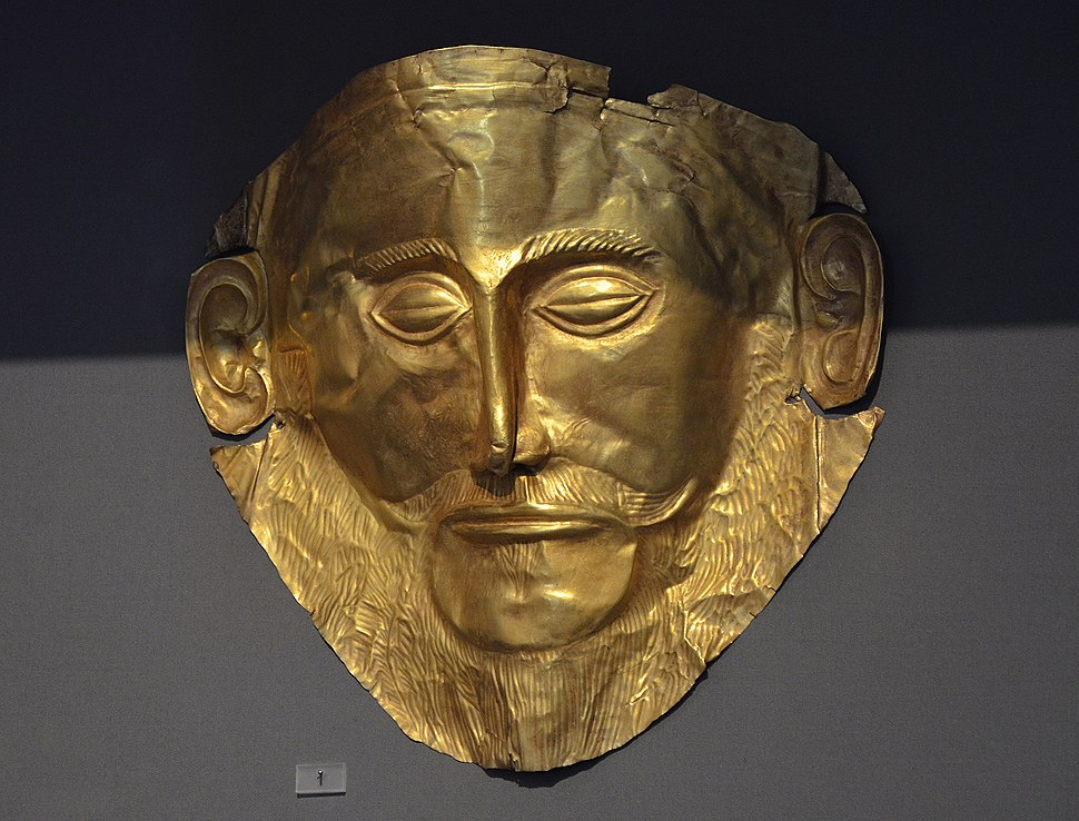Gold death-mask, known as the 'mask of Agamemnon', from Mycenae, grave Circle A, 16th century BC, Athens Archaeological Museum, Greece (22669073522)