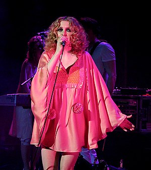 "Keeps Gettin' Better - Critics compared ""Keeps Gettin' Better"" to works by Goldfrapp (photo: Alison Goldfrapp, one member of the group)."
