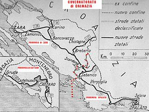 """Province of Zara - Map of the enlarged """"Province of Zara"""" and the Governorate of Dalmatia."""