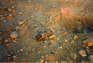 Land mines in North Africa - Defused dud near Bir Hakeim, Libya