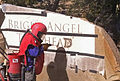 Grand Canyon National Park, Bright Angel Trailhead Sign Sandblasting - Flickr - Grand Canyon NPS.jpg