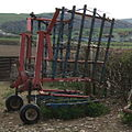 Grass Harrow in transport position near Bryn Eisteddfod.jpg