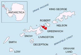 Location of Greenwich Island in the South Shetland Islands.