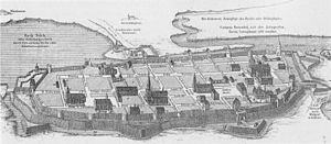 Duchy of Pomerania - Medieval Greifswald, a typical Ostsiedlung town. Locators set up rectangular blocs in an area resembling an oval with a central market, and organized the settlement.