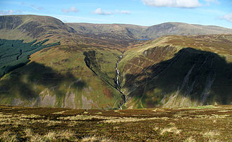 Southern Uplands - Grey Mare's Tail in the Moffat Hills from the Bodesbeck Ridge in the Ettrick Hills