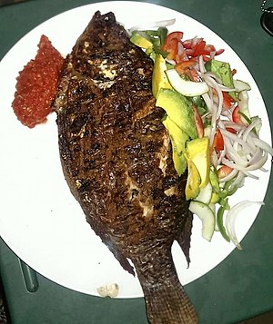 Grilled Tilapia and pear with pepper