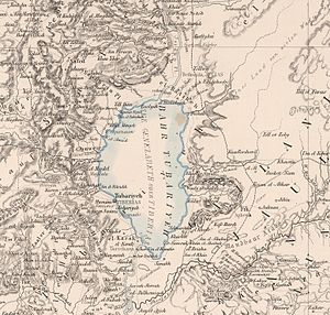 "Kinneret (archaeological site) - The Plain of Gennesaret marked on a 1850 German map of the Sea of Galilee as ""El-Ghuweir / Genezareth"" (western shore, stretching from ""Khan Minyeh"" to ""el-Mejdel / Magdala"")"
