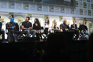 Guardians of the Galaxy Vol. 2 - (L:R) Rooker, Pratt, Saldana, Gillan, Klementieff, Bautista, Debicki, and Russell promoting the film at the 2016 San Diego Comic Con International