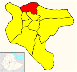 Gullele (red) within Addis Ababa
