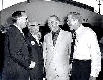 Preston Smith (governor) - Preston Smith (second from left) with state House Speaker Gus Mutscher, former President Lyndon B. Johnson and Lieutenant Governor Ben Barnes in Brenham, August 17, 1970.