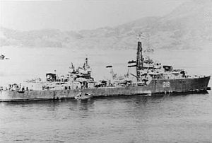 HMCS Cayuga (218) at Kure 1951