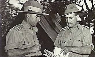 Henry Wells (general) - Brigadiers Henry Wells and John Broadbent conferring during a staff and command course, Queensland c. 1944.
