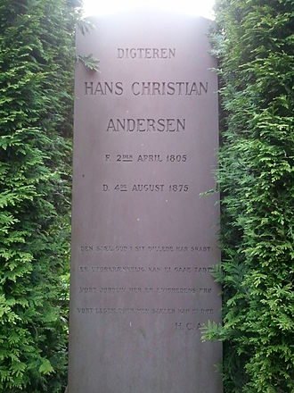 Hans Christian Andersen - Andersen's new gravestone at Assistens Cemetery in the Nørrebro district of Copenhagen.