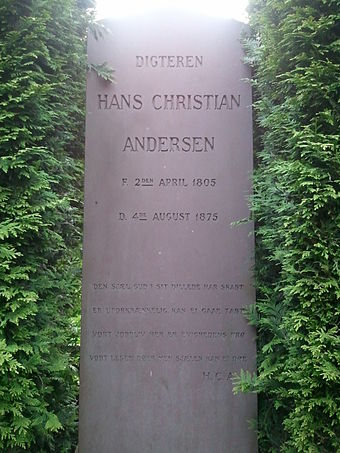 Andersen's new gravestone at Assistens Cemetery in the Norrebro district of Copenhagen. Hans Christian Andersen Grave.jpg