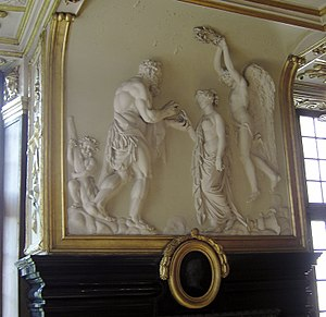 Jan-Christian Hansche - Modave Castle: marriage of Hercules on the chimneybreast of the Salon d'Hercule by Hansche